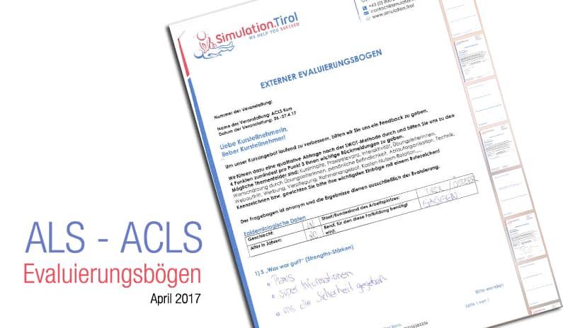 Evaluierungen ACLS Kurs April 2017