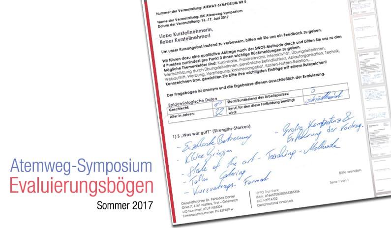 Evaluierungsergebnisse Innsbrucker Atemweg Symposium Sommer 2017