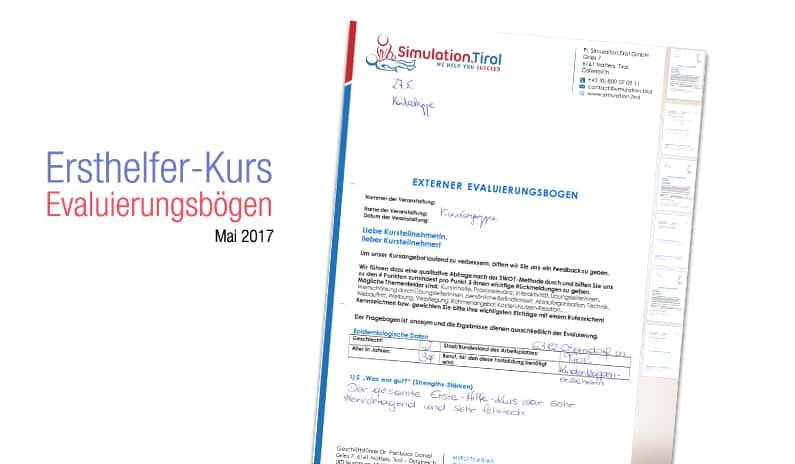 Evaluierung Ersthelfer Ausbildung Mai 2017