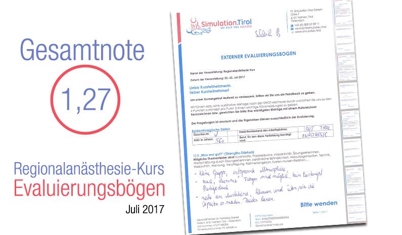 Evaluierungen Regionalanästhesie-Kurs 22.-23.Juli 2017