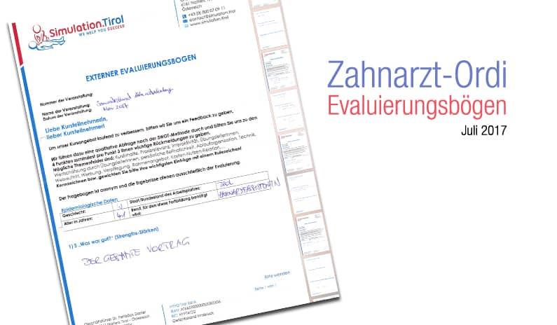 Evaluierungen Zahnarzt Ordinationstrainings Mai-Juli 2017