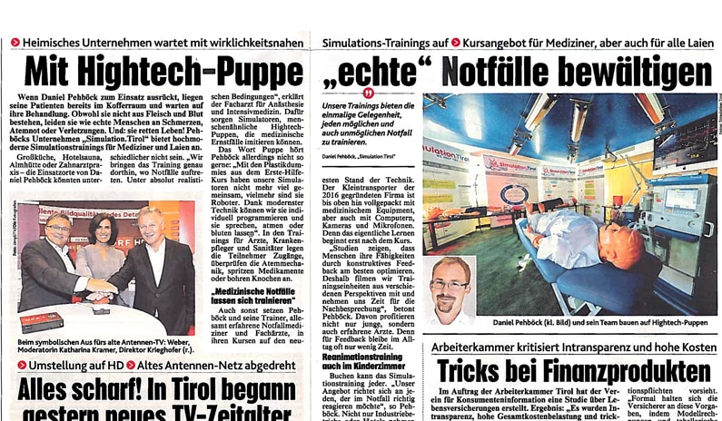 Bericht über Simulation.Tirol in der Kronenzeitung
