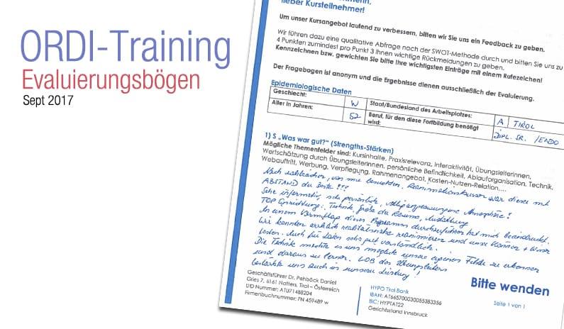 Evaluierungsergebnisse Ordinations-Training Dr. Bammer Tanja