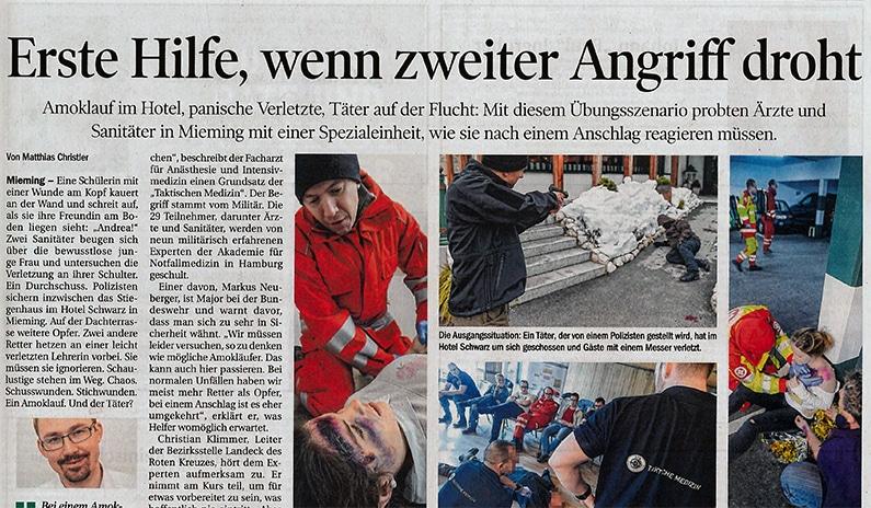 Zeitungsartikel zum 1. Taktischen Medizin Symposium in der Tiroler Tageszeitung