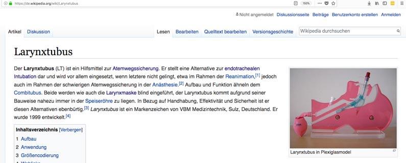 Screenshot von Wikipedia Larynxtubus