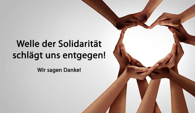 Wir sind sprachlos – Welle der Solidarität reisst nicht ab – mit Videobotschaft